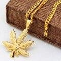 Золотой Лист Конопли ожерелье Способа Высокого Качества Хип-Хоп человек позолоченный 70 см длинная цепочка себе ожерелье мужчины ювелирные изделия