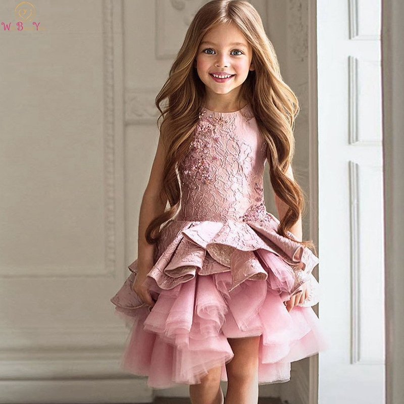 Lovely Pink Short Ruffles Flower Girl Dresses 2020 For Weddings Sleeveless Lace With Sequined Kids First Communion Pageant Gowns