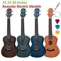 Ukulele Acoustic Electric Soprano Concert Tenor 21 23 26 Inch Mini Guitar 4 Strings Ukelele Guitarra Mahogany Colorful Pick Up