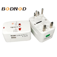 All in One Universal Adapter PluG Free shipping 2 USB Port World Travel AC Power Charger Adaptor with US UK EU converter Plug стоимость