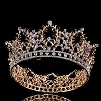 Luxury Vintage Gold Crystal Wedding Bridal Crown Tiara Hair Jewelry Round Rhinestone Bride Head Piece Hair Accessories Hairbands