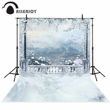 Fundo fotográfico Allenjoy grades Brancas natureza montanha da neve do inverno fundo Fotográfico para o estudo do fundo Da Foto