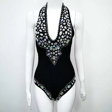 VIIZREL 7 Color Solid Sexy Bodysuit Skinny Beading V Neck Bandage Beach Suit
