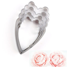 TTLIFE 4pcs Peony Petal Cookie Cutter Flower Stainless Steel Biscuit Mould Fondant Cake Sugarcraft Decorating Tools Baking Mold