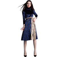 Spring New Office Velvet Dress Women Stitching Color High Collar Slim Sexy Party Dresses Autumn Winter
