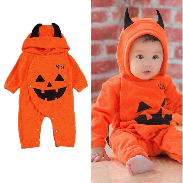 354d836d0 Halloween Newborn Baby Romper Girls Sweet Cartoon Halloween Pumpkin ...