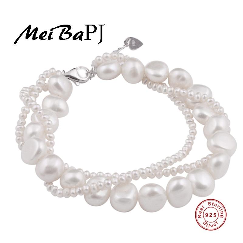 MeiBaPJ 100 Real Natural freshwater pearl multilayer Bracelet for women wedding jewelry favorite bangle 925