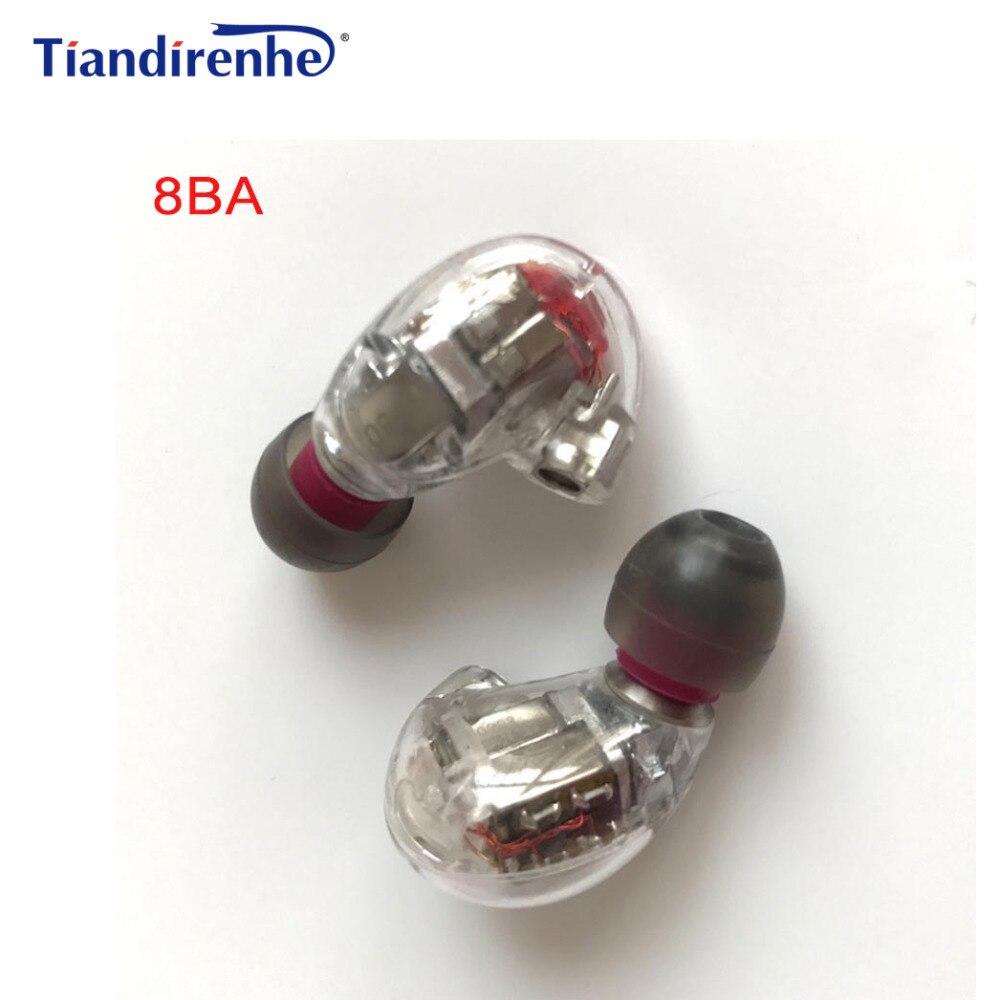 DIY HIFI de MMCX 8BA armadura equilibrada BA los conductores en la oreja Auriculares auriculares para Shure SE215 SE535 SE846 Cable auriculares