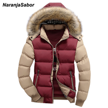 NaranjaSabor 2017 Winter Men's Thick Coats Hooded Down Parka Warm Mens Jackets Breathable Male Overcoat Mens Brand Clothing 4XL