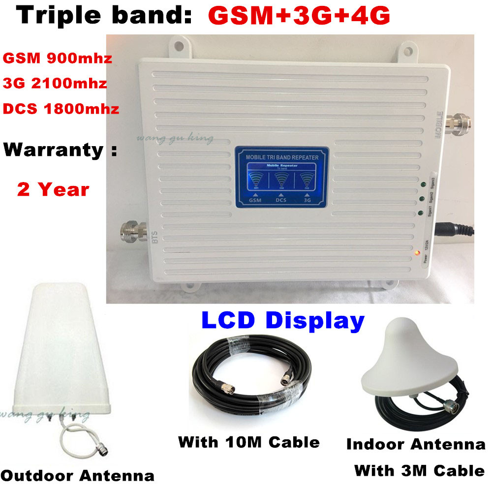 2G 3G 4G GSM 900 WCDMA 2100 LTE 1800 Tri Band Mobile Phone Signal Booster 70dB Gain Cell Phone Cellular Repeater 3G 4G Amplifier2G 3G 4G GSM 900 WCDMA 2100 LTE 1800 Tri Band Mobile Phone Signal Booster 70dB Gain Cell Phone Cellular Repeater 3G 4G Amplifier