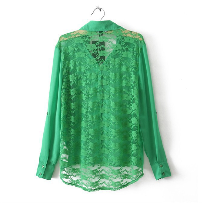 3f8d8eafca2 New Fashion Chiffon Sexy Women Blouses Hollow Foldable Sleeve Irregular  Ladies OL Shirts Green Tops Back Blouses S M L 1047-in Blouses   Shirts  from Women s ...