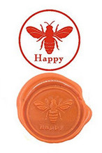Bee Happy Vintage Custom Luxury Wax Seal Sealing Stamp Brass Peacock Metal Handle Sticks Melting Spoon Wood Gift Box Set