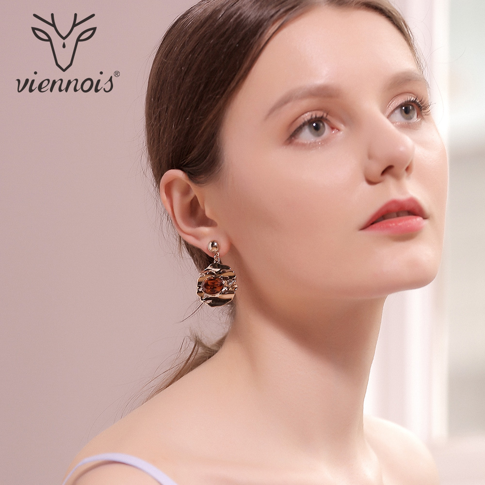 Viennois Drop Earrings for Women Gold Color Brown Crystal Round Dangle Earrings Female Party Wedding Jewelry anti skid hard anodic oxidation 3 tactical pen self defense tool emergency tactical pen aviation aluminum tools free shipping