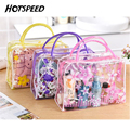 PVC Women Transparent Makeup Bag Korean Flower Pouch Vanity Travel Trolley Beauty Cute Organizer Makeup Cosmetic Bag