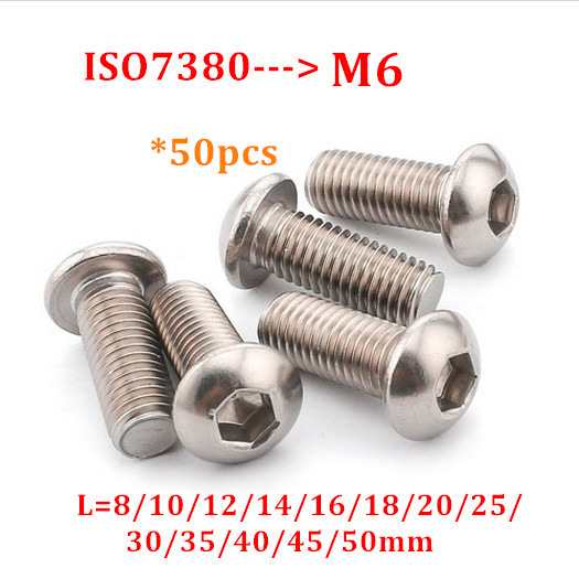 50pcs ISO7380 <font><b>M6</b></font> Button Head Screw 304 stainless steel A2 Hexagon Socket Round Head Screw Hex Socket Screws Bolts Length 8-<font><b>50mm</b></font> image