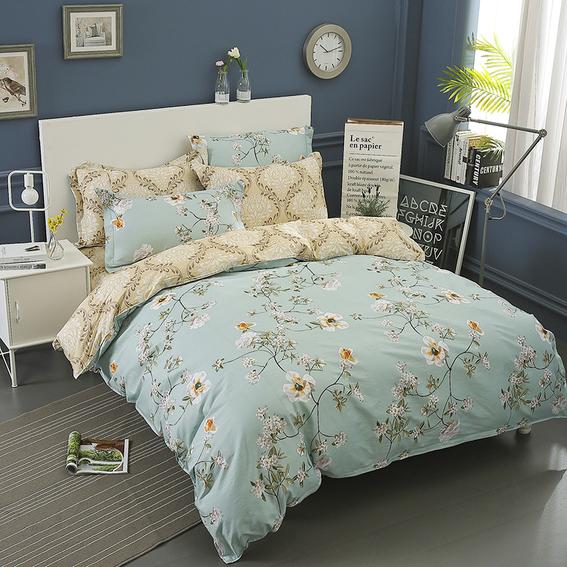 High Quality 100 Cotton Bedding Set Queen Size Fl Pattern Duvet Cover With Pillowcase 3pcs Twin Full King Bed Line