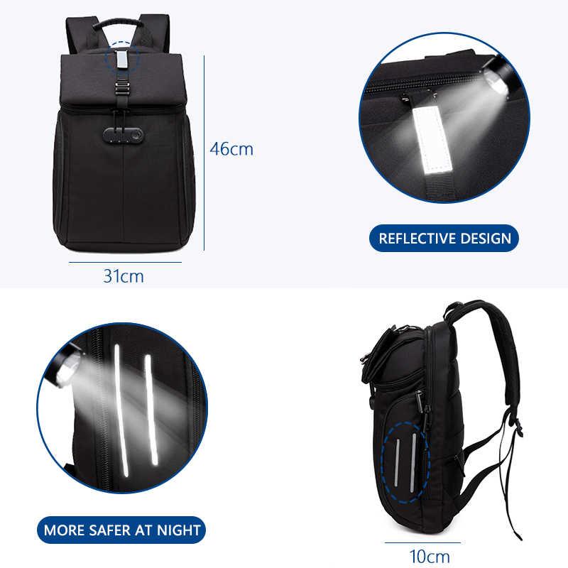 """OZUKO Fashion Men plecak antykradzieżowy 15.6 """"plecaki na laptopa Casual kobiety wodoodporny plecak tornister torba dla nastolatki Mochila"""