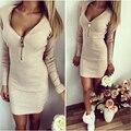 2016 Fashion Women V-neck Tight Package Hip Screw Fastener Chest Warm long-sleeved dresses Short mini dress