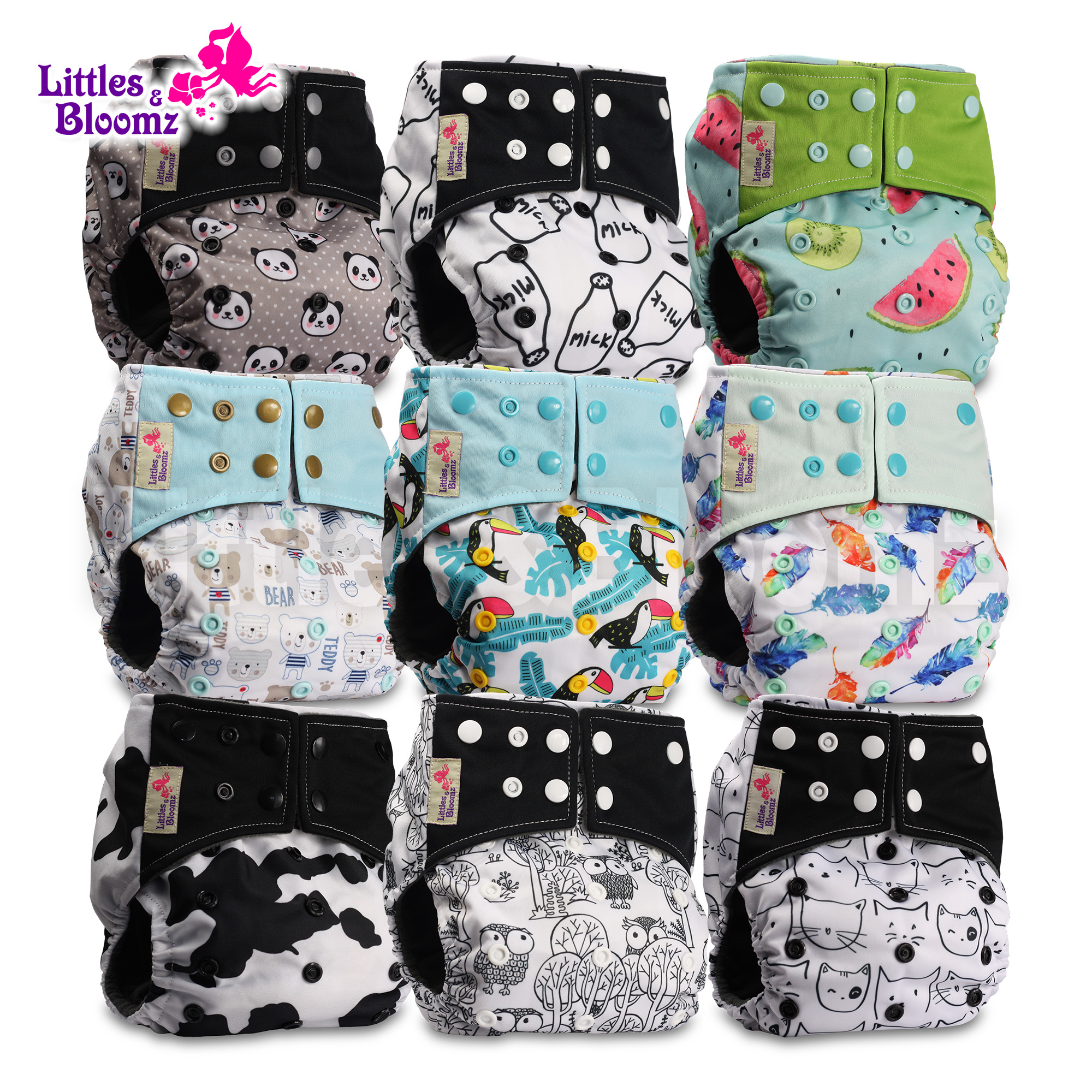 Littles /& Bloomz with 2 Bamboo Inserts Reusable Pocket Real Cloth Nappy Washable Diaper Bamboo Charcoal Pattern 24