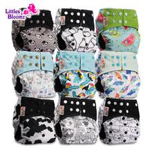 [Littles&Bloomz] 9pcs/set BAMBOO CHARCOAL Washable Real Cloth Pocket Nappy, 9 nappies/diapers and 0 insert in one set Free Ship