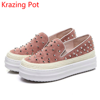 New Arrival Superstar High Heel Slip On Casual Shoes Solid Round Toe Loafer Rivets Sneaker Increased