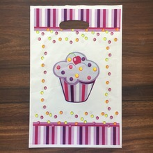 6pcs Happy birthday Cake theme PE printed plastic candy bags,shopping gift bag for Kids happy event party supplies