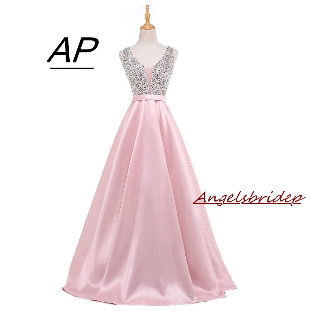 Angelsbridep 2019 Satin Prom Dresses Deep V-neck Crystal Sequined Vestidos De Fiesta Real Photo Bodice Prom Party Gowns Custom Fine Craftsmanship
