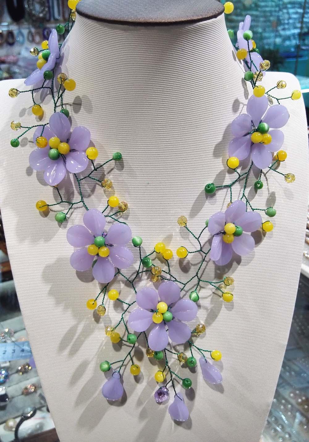 purple stone flower jades  beads necklace  19inch weholesale beads gift  FPPJpurple stone flower jades  beads necklace  19inch weholesale beads gift  FPPJ