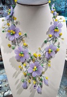 purple stone flower jades beads necklace 19inch weholesale beads gift FPPJ