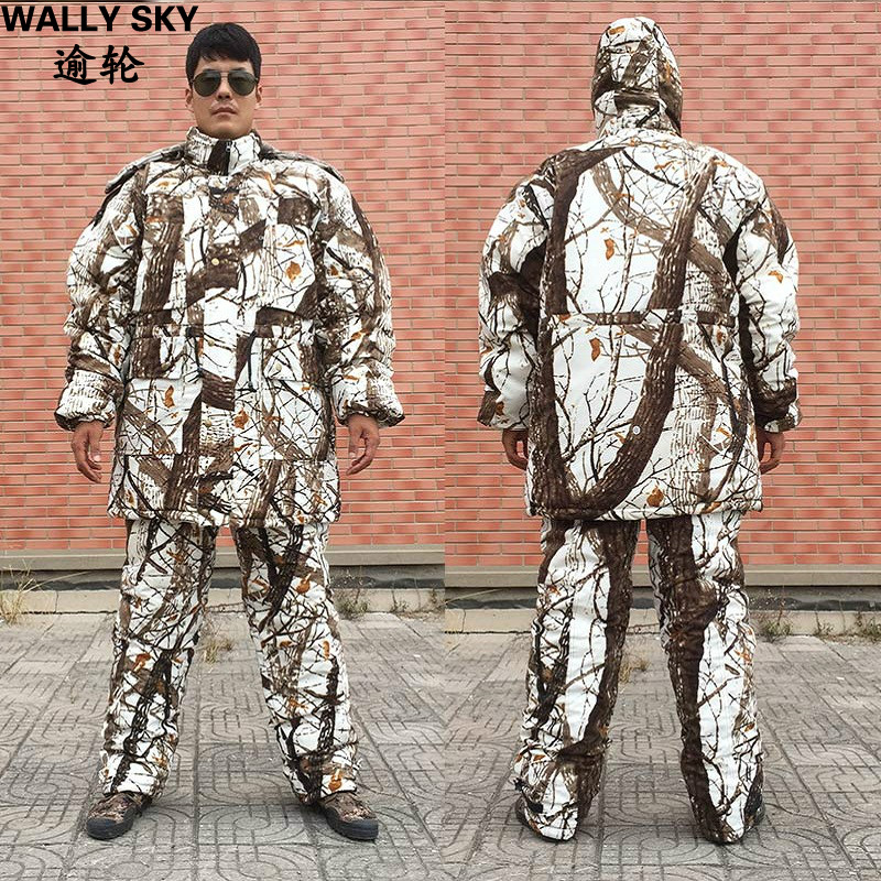 Bionic Snow Camouflage Cotton Padded Clothes Winter Skiing Hunting Camo Suit Water Resistant Windproof Breathable Warm Sets цены