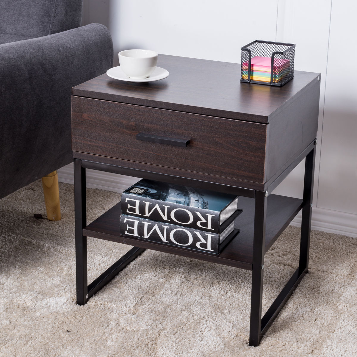 Giantex End Table Bedroom Night Stand Table Modern Wood Shelf Storage Drawer Home Display Nightstand Bedroom Furniture HW55452 1 night stand