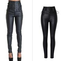 European&American high-waisted PU leather pants Fashion womens stretch pencil Chic plus size XXL