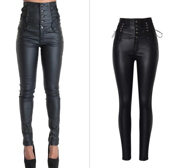 Pantalon cuir PU taille haute européen & américain mode pantalon crayon stretch femme pantalon Chic grande taille XXL