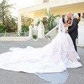Романтический Королевская Свадьба Платье Саудовская Аравия Ближний Восток Дубай Long Train Свадебные Платья Аппликации Светло-Розовый Свадьбы Формальные Gowvs
