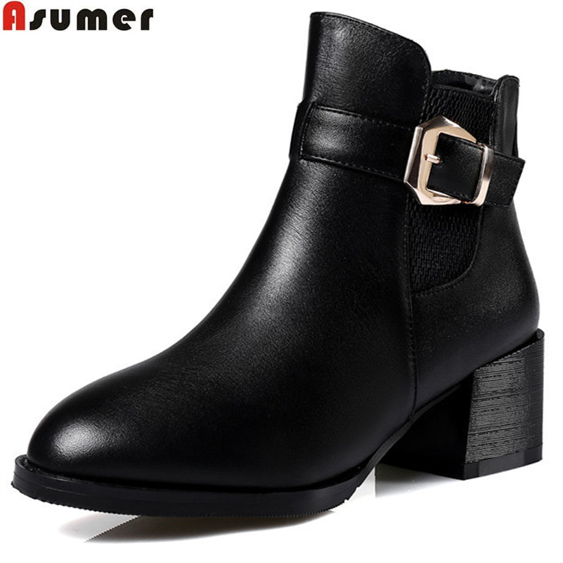 ASUMER fahsion new arrive women boots black zipper buckle autumn winter genuine leather boots simple plus size 32-45 ankle bootsASUMER fahsion new arrive women boots black zipper buckle autumn winter genuine leather boots simple plus size 32-45 ankle boots