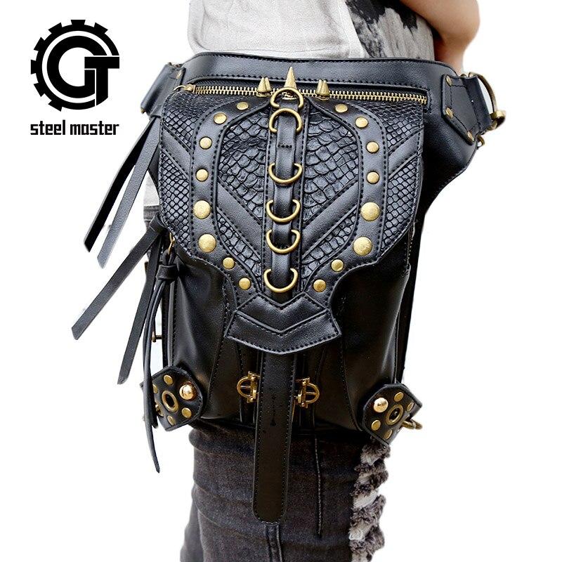Steel Master Punk Retro Men Women Fanny Waist Pack Shoulder Leg Bag Motorcycle Messenger Bags Steampunk