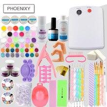 Acrylic Powder Kit  18 Colors Glitter 36W Lamp For Manicure Acrylic Nail Kit Brush For Nail Pusher Varnish Semi Permanent UV Set
