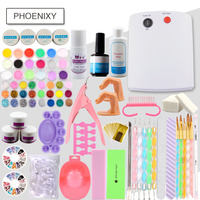 Acrylic Powder Kit UV Gel 42 Colors Glitter 36W UV Lamp For Manicure Nail Art Tools For Gel Varnish Semi Permanent Gel Nail Set