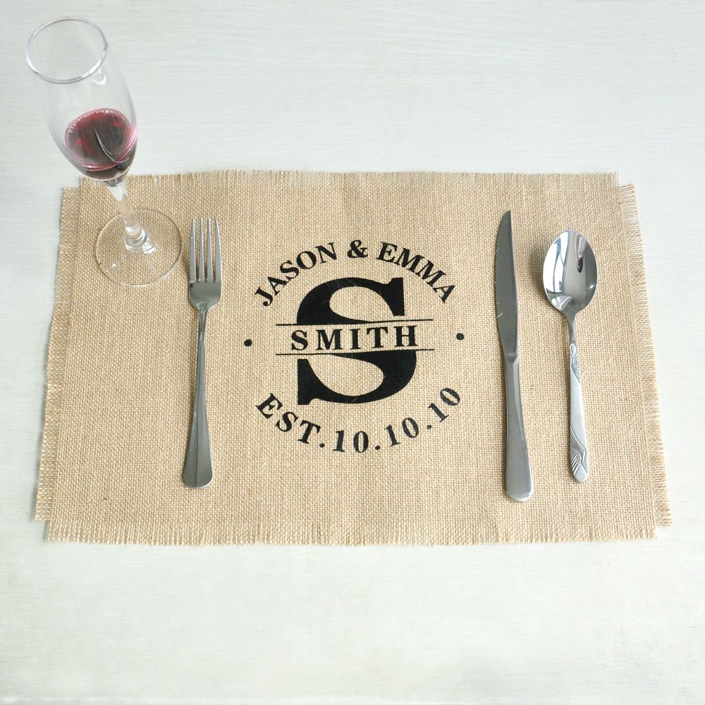 personalized wedding burlap placemats rectangle placemats table mats rustic wedding gift 4530cm set of 4 or 6 or 8