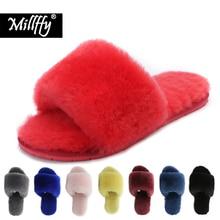Millffy laine fourrure maison pantoufles climatisation chambre en peau de mouton pantoufles fourrure pantoufles maison chaussures femmes