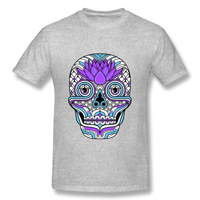 d7face02d Pre-Cotton T Shirt Men's Lotus Skull Funny Logos Men's T Shirts Famous Brand