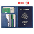 Passport Cover Travel Mens Black&Blue Card Bag Passport Holder Leather Rfid Blocking Wallet Fashion Lanyards ID Badge Holder