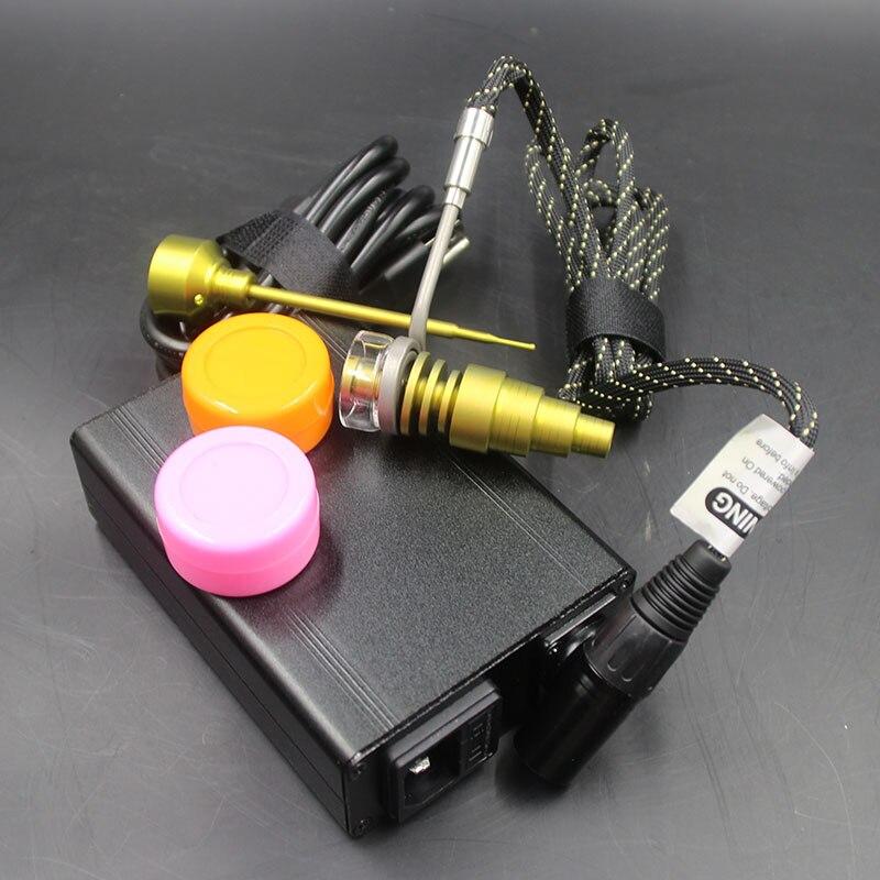 Kits de clou de Dab électrique noir bobine de chauffage or Quartz titane clou or bouchon de carbu deux Enail de pot de Silicone pour les tuyaux en verre