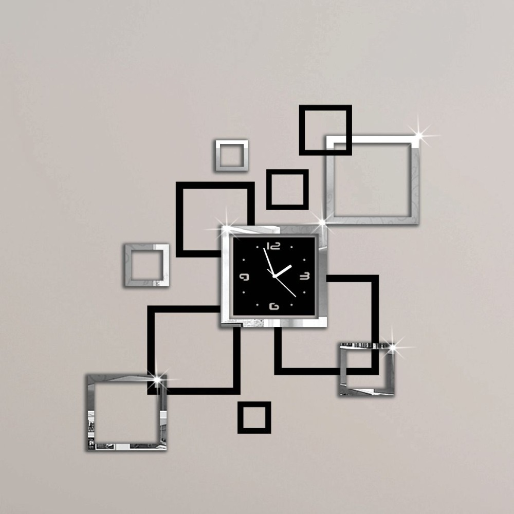 album argent et noir 3d diy miroir horloge murale design. Black Bedroom Furniture Sets. Home Design Ideas