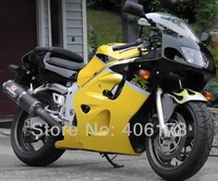 Лидер продаж, gsxr 600 750 GSXR600 96 97 98 99 00 обтекатель комплект для Suzuki GSX R600 желтый черный SRAD 1996 2000 мотоциклетные комплект обтекателей