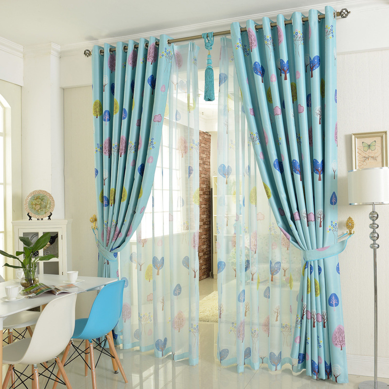 Korean Fresh Style Wish Trees Printed Children Curtain Polyester Blackout Cloth Curtain For