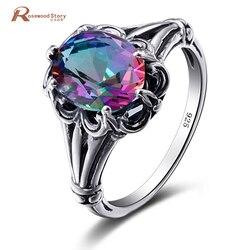 Mystic Fire Rainbow Topaz kryształowy pierścionek zaręczynowy obrączka 925 srebro dla kobiet obietnica ślubna pierścień biżuteria dla nowożeńców