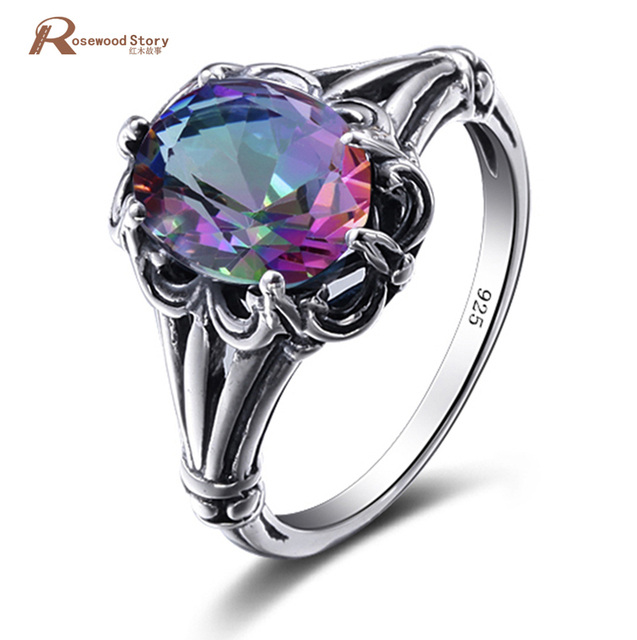 Mystic Fire Rainbow Topaz Crystal Ring Engagement Wedding 925 Sterling Silver For Women Promise