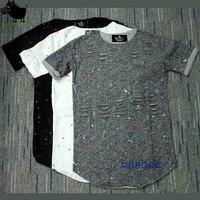 New Fashion Men Splash Ink Destroy Broken Short Sleeve T Shirts Hole Design Hip Hop Mens