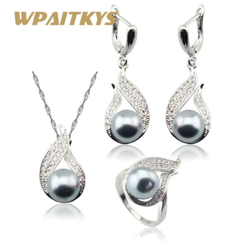 Stříbrná sada šperků šedá simulovaná perla bílá CZ pro ženy náhrdelník přívěsek dlouhé náušnice prsteny dárková krabička zdarma